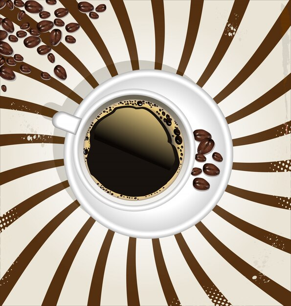 Retro cup of coffee background Premium Vector