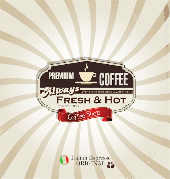 Retro cup of coffee background Premium Vector