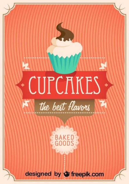 Retro Cupcakes Poster Design Vector | Free Download