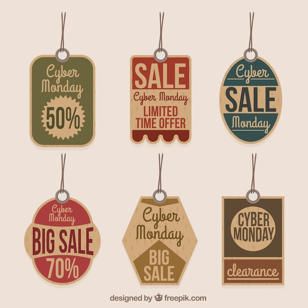 Retro cyber monday tags Free Vector