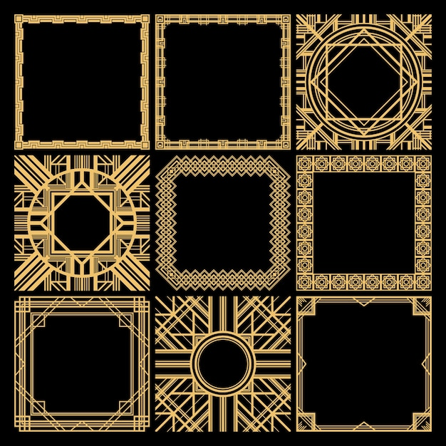 Retro decorative blank frames collection with classic elegant geometric traceries in vintage style isolated Free Vector