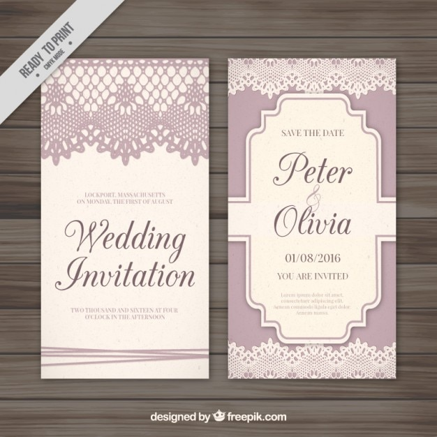 Retro decorative card with lace wedding Free Vector