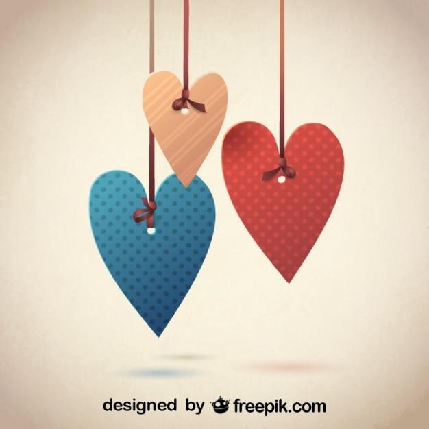 Free Vector Retro Decorative Hearts Design For Valentine S Day