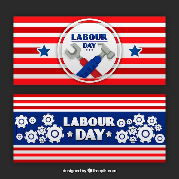 Retro decorative labor day banners