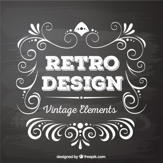 Chalkboard Designs Part - 41: Retro Design Elements In Blackboard Style Free Vector