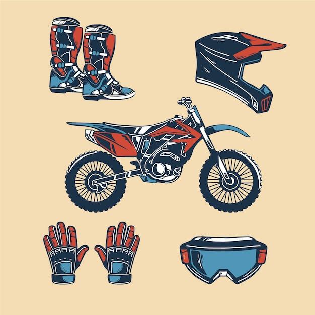 Retro design motocross elements Free Vector