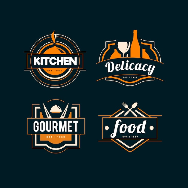 Retro design for restaurant logo Free Vector