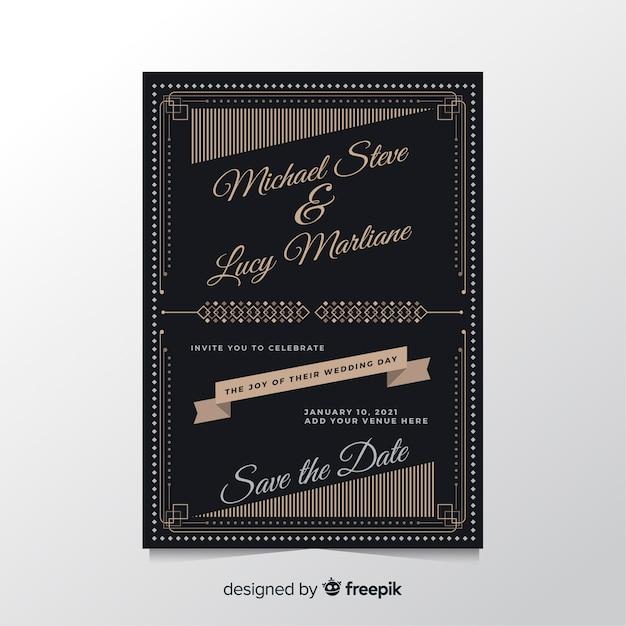Retro design wedding invitation template Free Vector