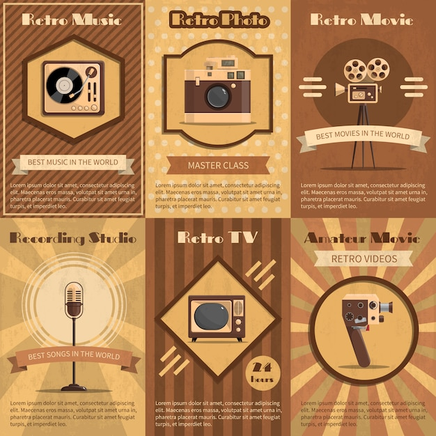 Retro device poster Free Vector