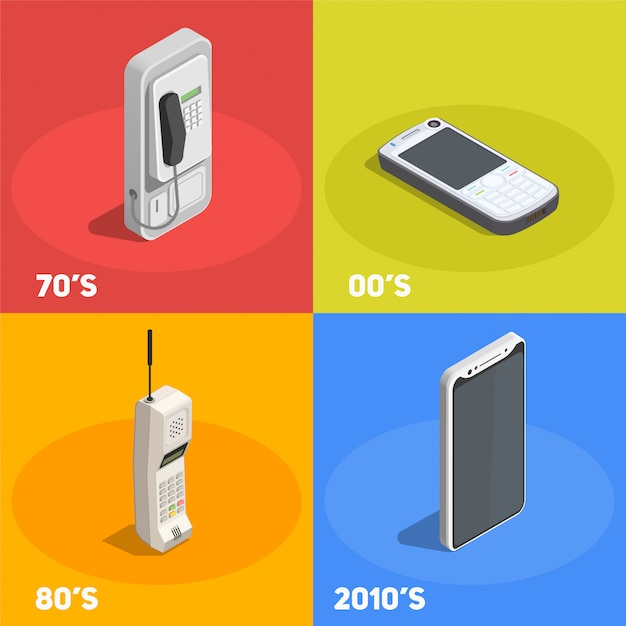 Retro devices 2x2 design concept with telephones from various decades isolated on colorful  3d Free Vector