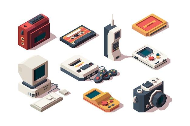 Ретро устройства. сотовый телефон старый смартфон камеры фото vhs музыка и игровая приставка компьютер изометрическая коллекция. Premium векторы