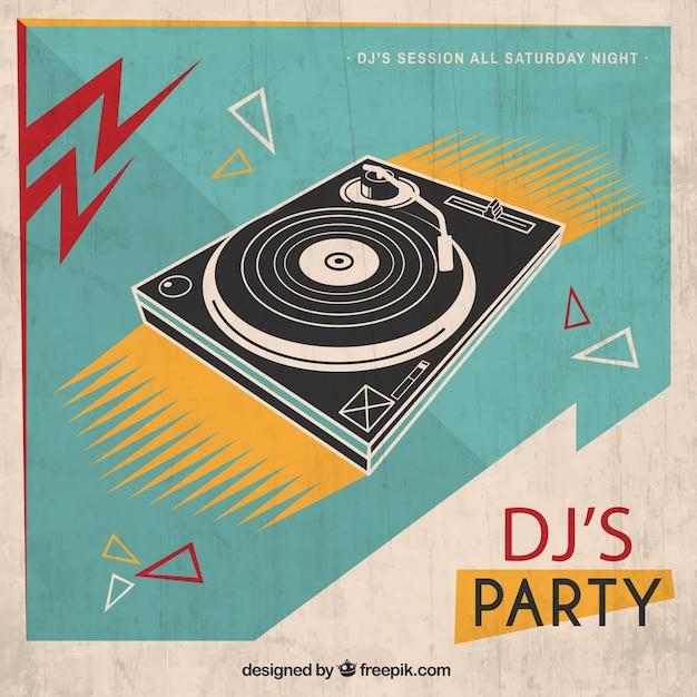 Retro dj's party poster Free Vector