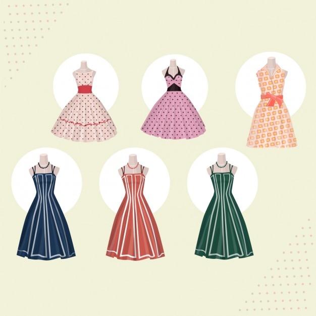 Retro dresses collection Free Vector