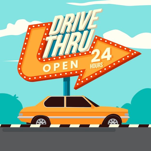 Retro drive attraverso l'illustrazione del segno Vettore gratuito