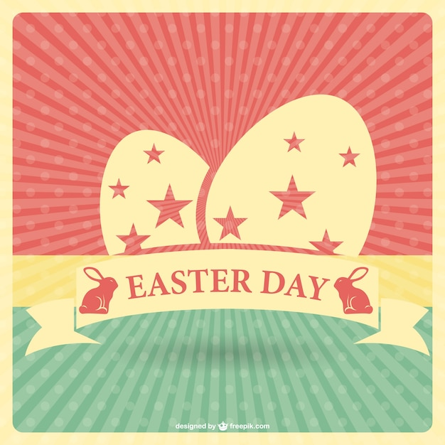 Retro Easter Card Template Vector  Free Download