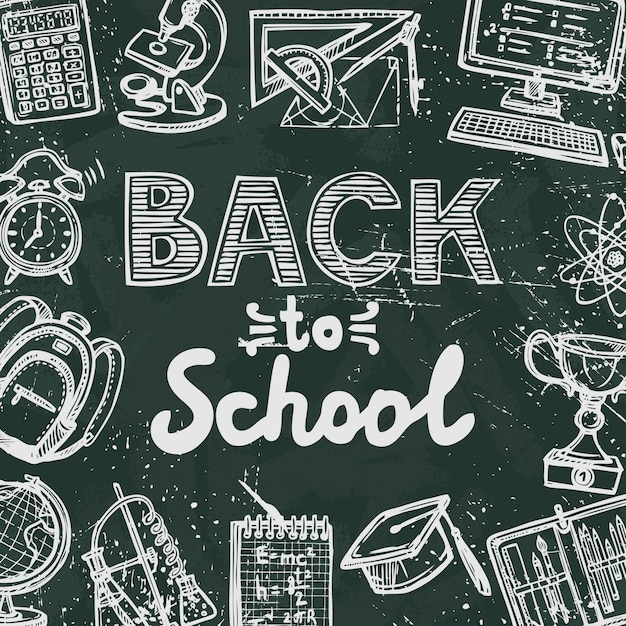 Retro education icons on blackboard background\ with back to school text poster vector illustration