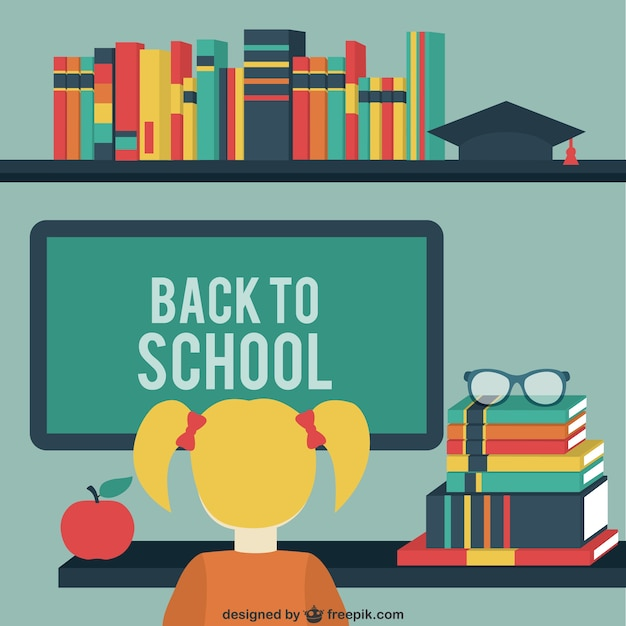 Retro elements for school Free Vector