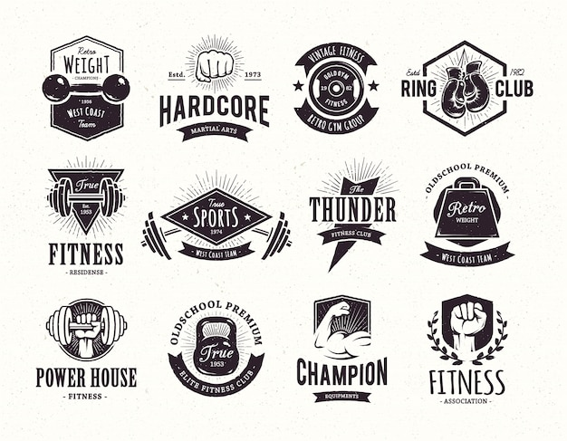 Retro emblems collection Free Vector