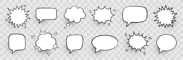Retro empty comic speech bubbles set with black halftone shadows. vintage design, pop art style Premium Vector