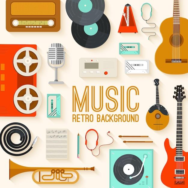 Ретро оборудование музыкальный набор круг инфографика шаблон концепции Premium векторы
