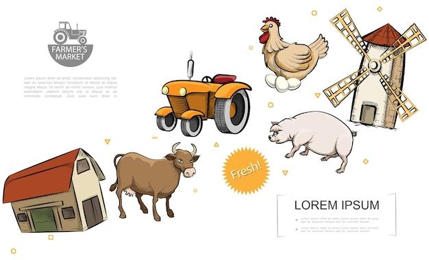 Retro farm colorful template Free Vector