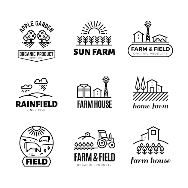Retro farm and organic products vector emblems and logos. vintage line farming labels Premium Vector