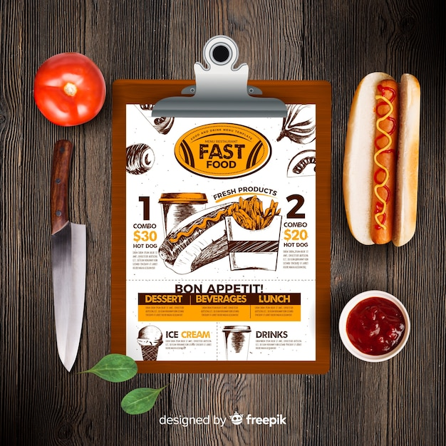 Retro fast food menu template