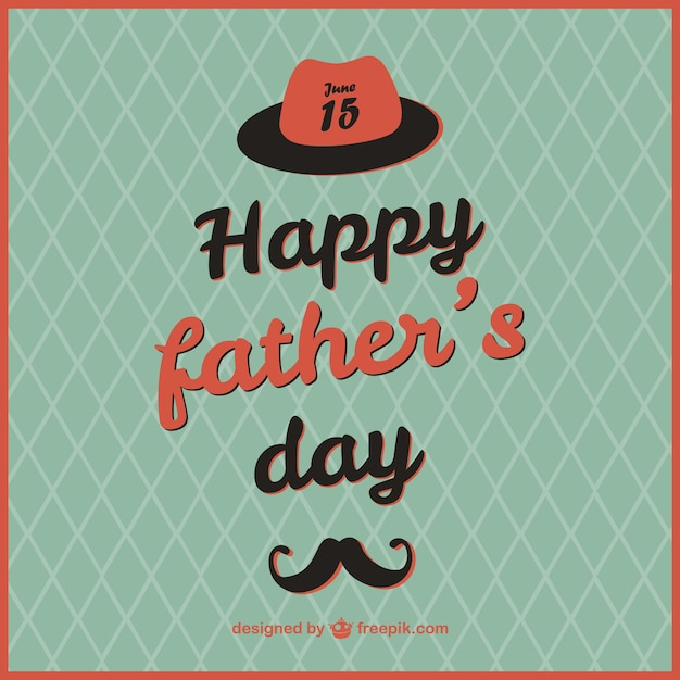 Retro father's day card template Free Vector
