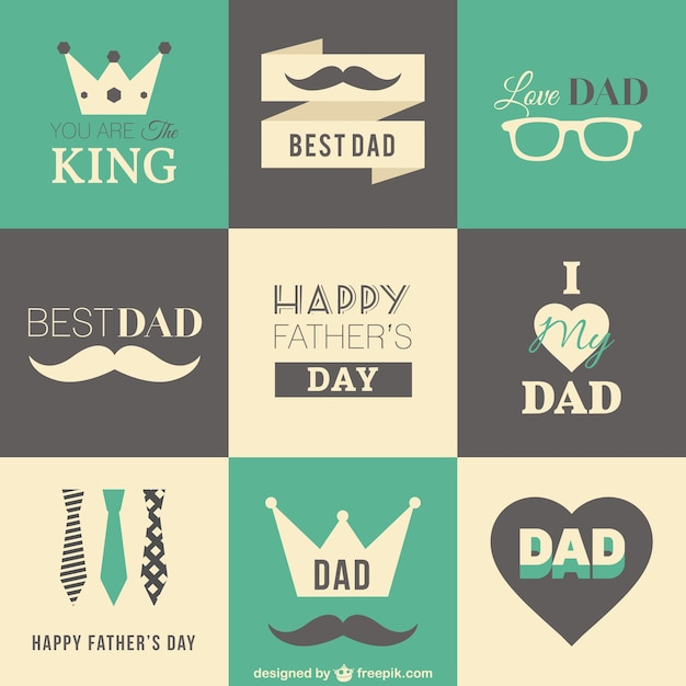 Retro fathers day badges