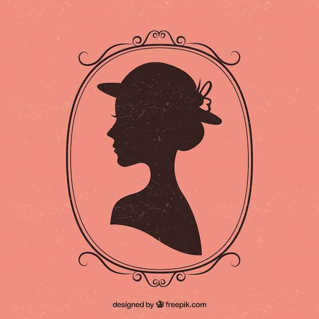 Retro female silhouette Free Vector