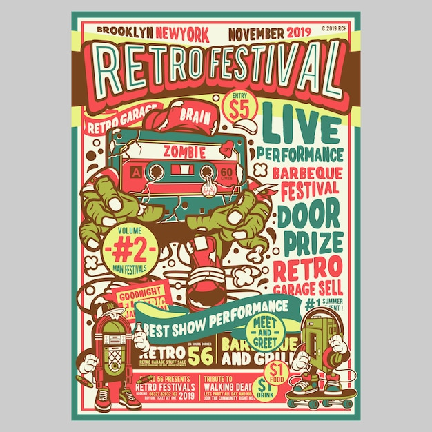 Retro festival flyer Premium Vector