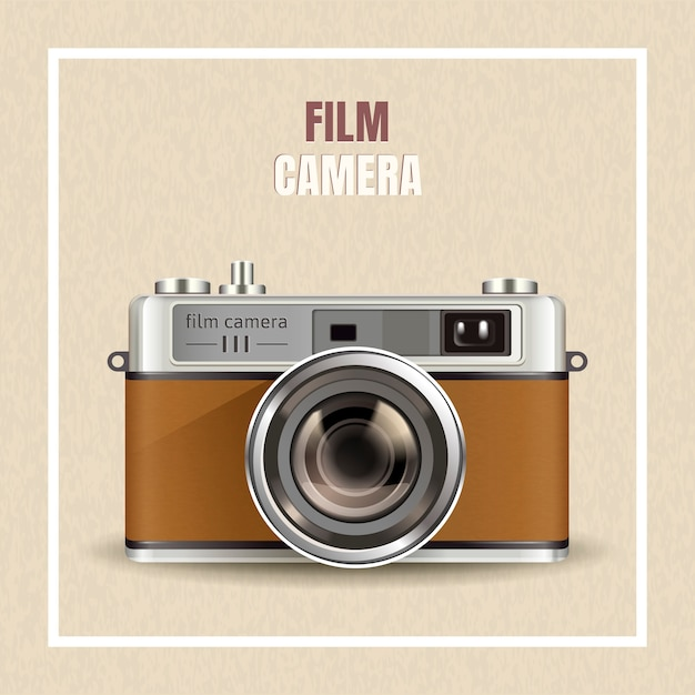 Retro film camera , realistic camera in  illustration as  elements Premium Vector