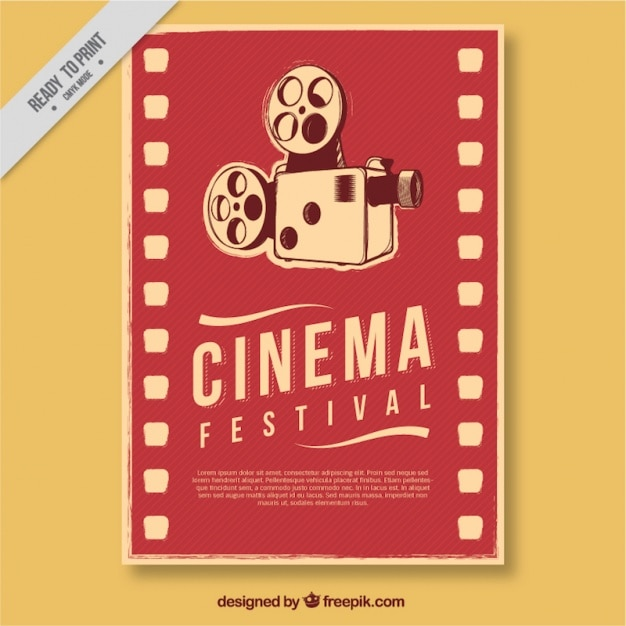 Retro film poster with antique camera Free Vector