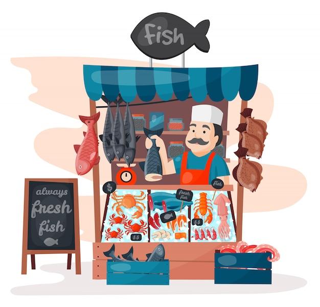 Ретро рыба уличный магазин магазин рынок со свежестью морепродуктов в холодильнике традиционная азиатская еда и человек дилер бизнес человек мясо продавец Premium векторы