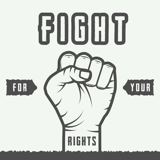 Retro fist with slogan Premium Vector