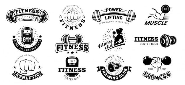 레트로 피트니스 배지. 체육관 엠블럼, 스포츠 라벨 및 블랙 스텐실 보디 빌딩 배지 벡터 세트 프리미엄 벡터