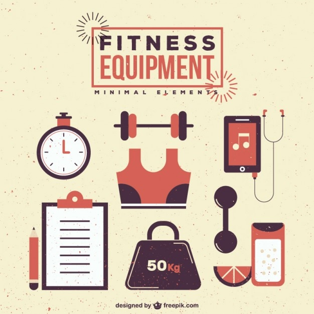 retro fitness equipment vector free download