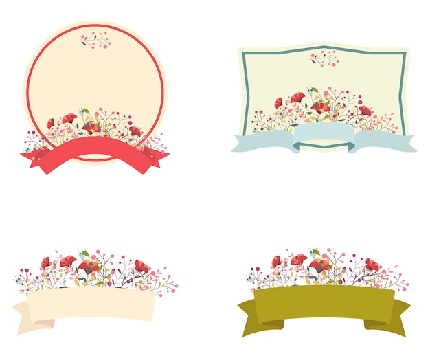 Retro floral frame and ribbon set Premium Vector