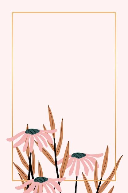 Retro floral frame Free Vector