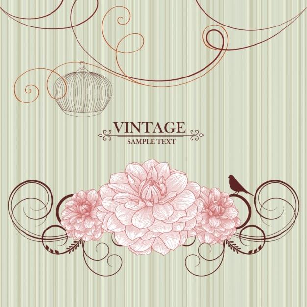Retro Floral Illustrator Material Background Vector Set