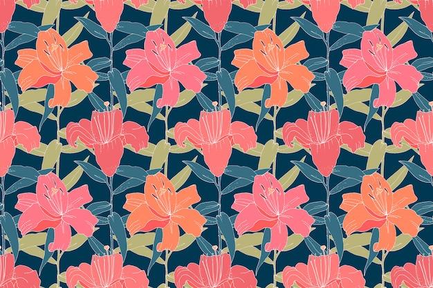 レトロな花柄シームレス。ネイビーブルーの背景に分離された緑の葉とピンクのユリ。 Premiumベクター