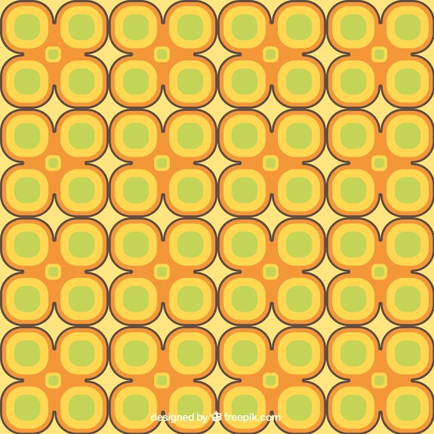 Retro flowers pattern in yellow and\ green