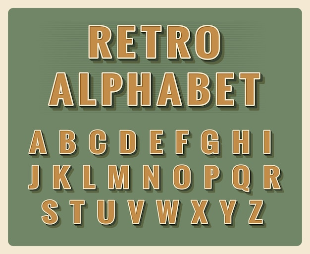 Alfabeto dei caratteri retrò. tipografia vintage modello, tipo di elemento. Vettore gratuito