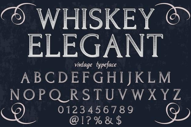 Retro font label design whiskey elegant Premium Vector