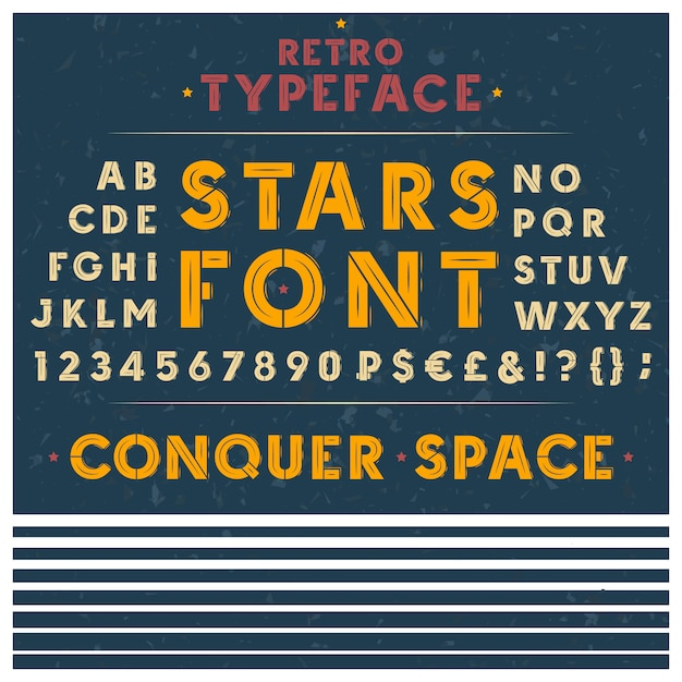Retro font, the latin alphabet, uppercase, capital letters, numbers Free Vector