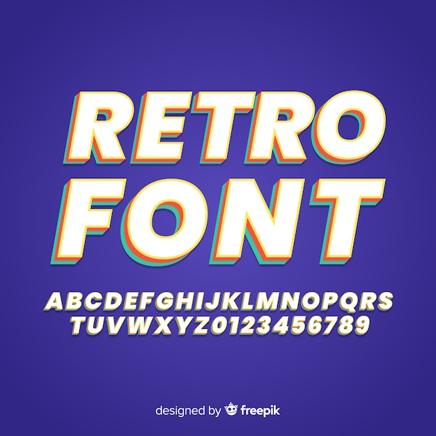 Retro font template flat design Free Vector