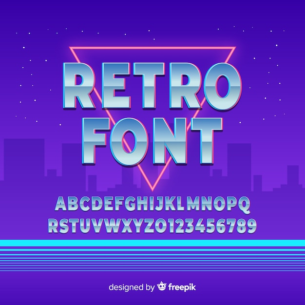 Retro font template flat design Free Vector