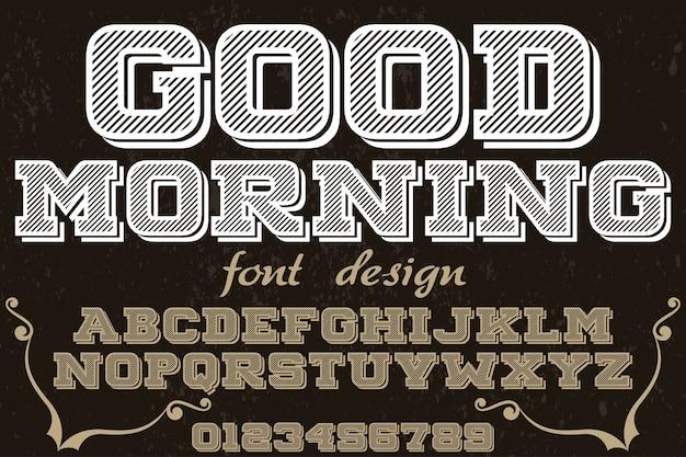 Ретро дизайн шрифта доброе утро Premium векторы