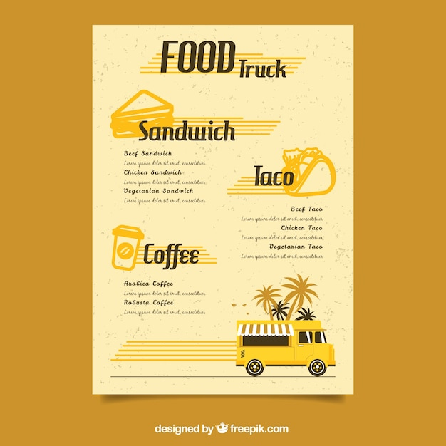 retro food truck menu template stock images page everypixel