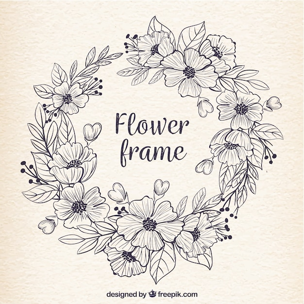Retro frame of hand drawn flowers Vector | Free Download
